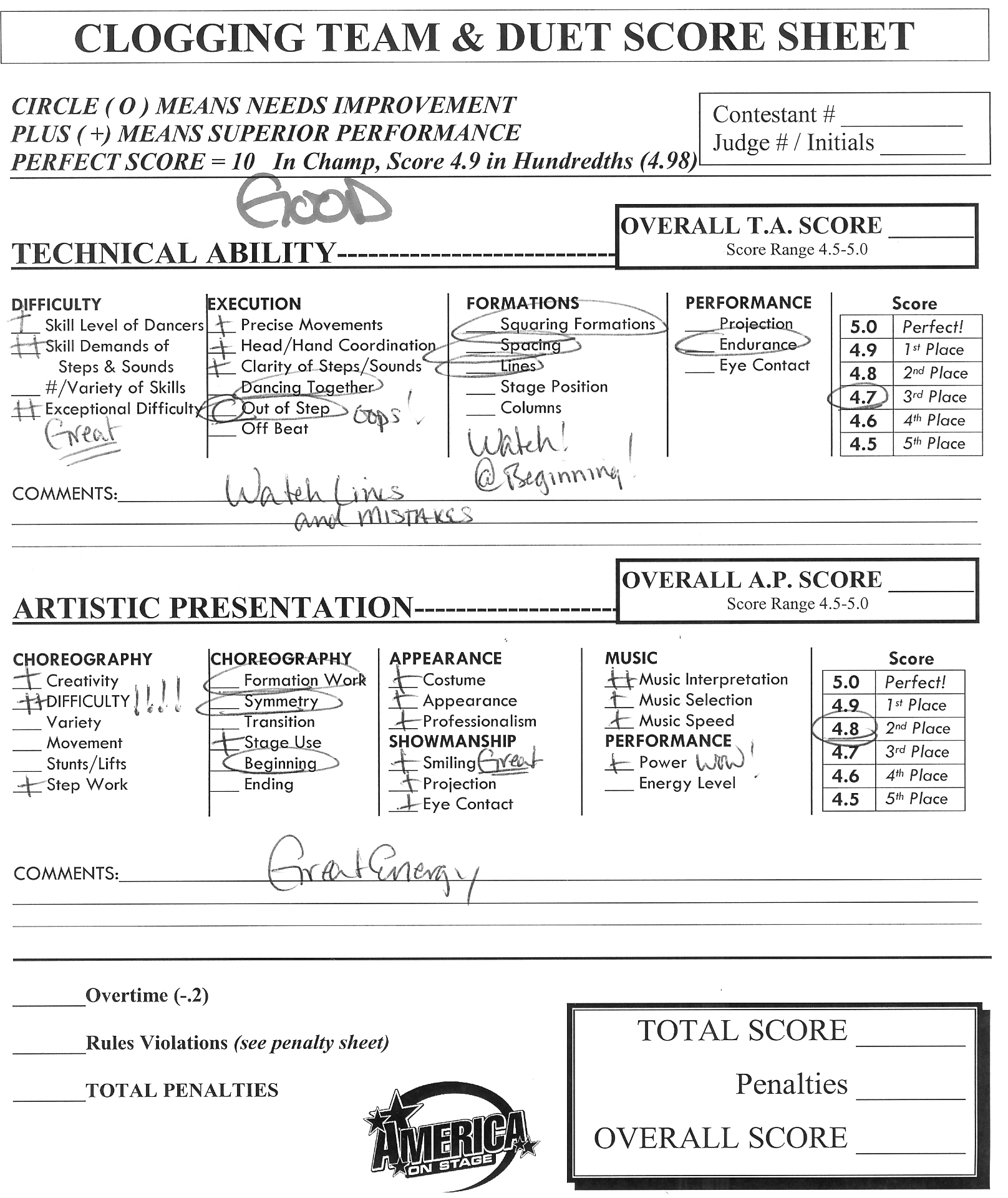 Judge Tips – Sample Talent Show Score Sheet